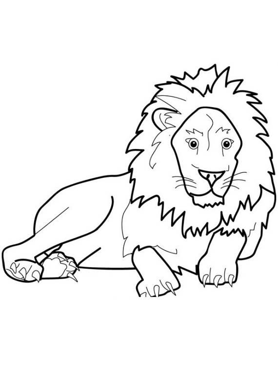 Animali leone sdraiato da stampare e colorare for Animali da colorare e stampare