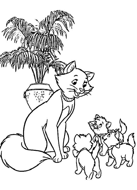 Aristogatti duchessa e i cuccioli da stampare e colorare for Immagini da colorare aristogatti