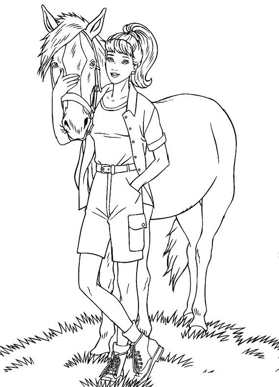Barbie cavallo da stampare e colorare for Immagini cavalli da disegnare