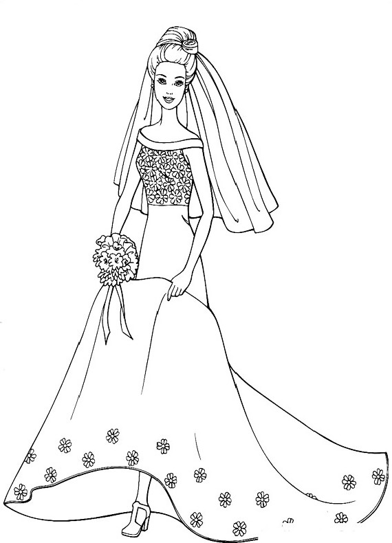 Barbie sposa da stampare e colorare for Disegni barbie da colorare