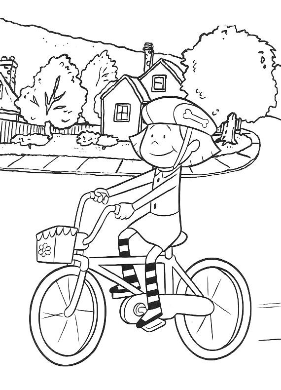 clifford emily bicicletta da stampare e colorare