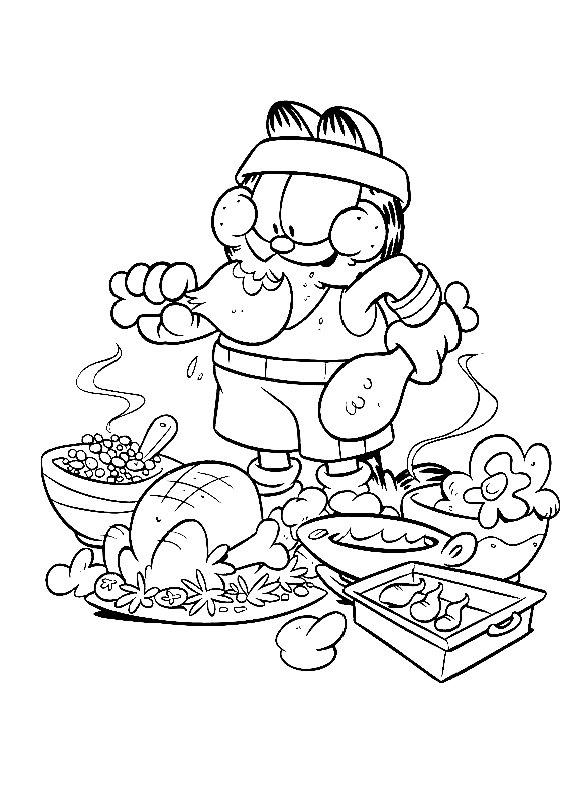 Garfield Atleta Mangione Da Stampare E Colorare