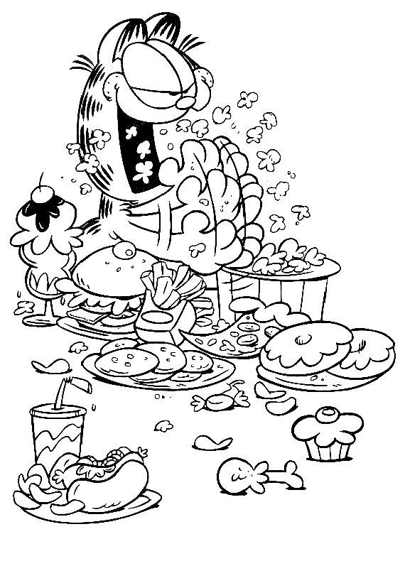 Garfield Cibo Vario Da Stampare E Colorare