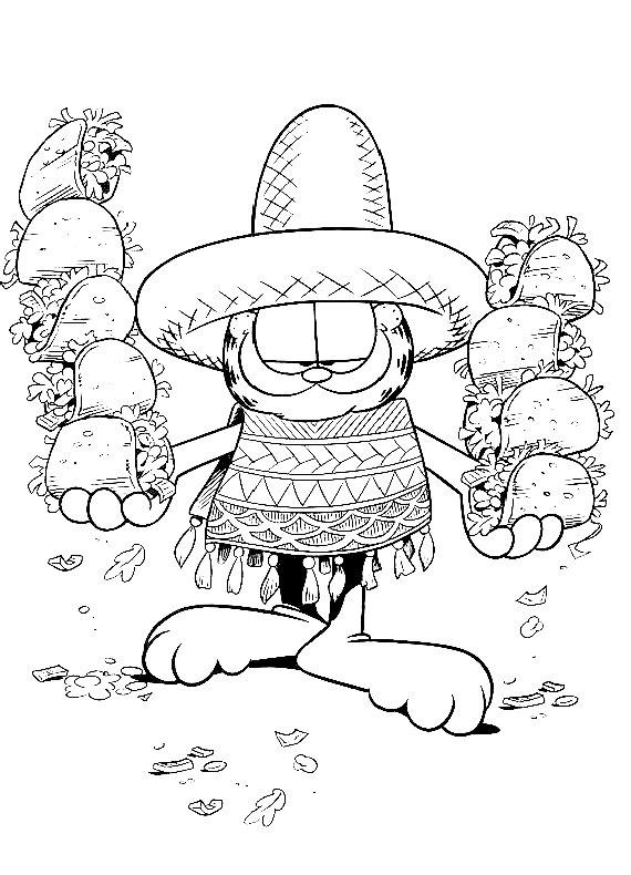 Garfield messicano da stampare e colorare for Disegni portico messicano