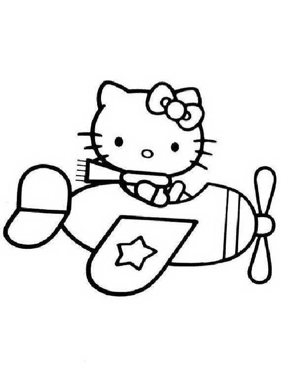 Disegno Aereo Da Colorare.Hello Kitty Aereo Da Stampare E Colorare
