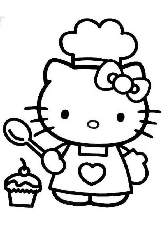 Hello Kitty Cuoca Da Stampare E Colorare
