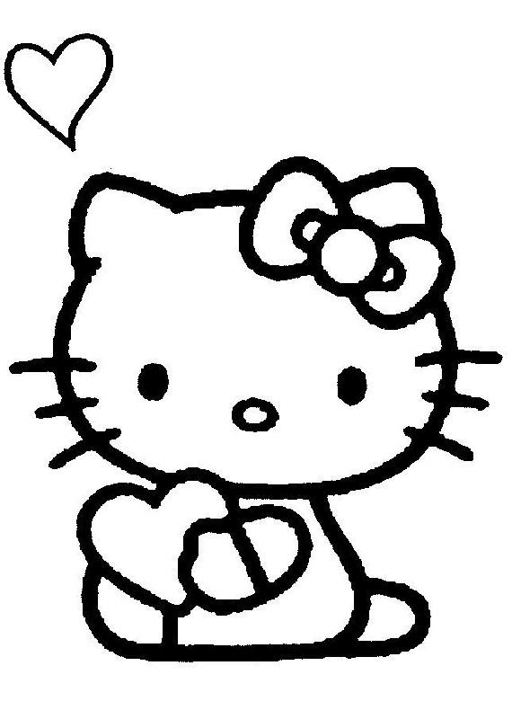 Hello Kitty Cuore Da Stampare E Colorare
