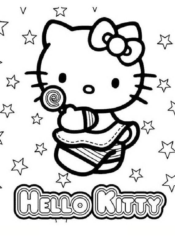 Hello kitty lecca lecca da stampare e colorare for Disegni da colorare hello kitty
