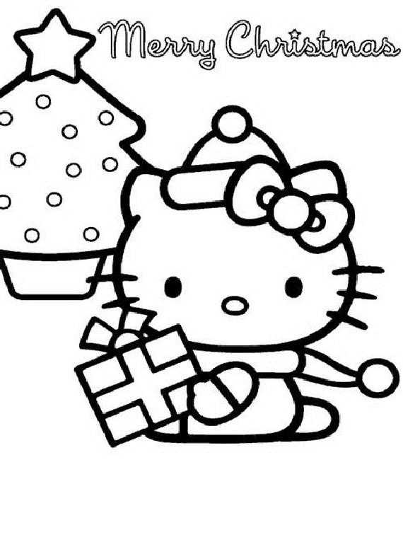 disegni da colorare hello kitty di natale
