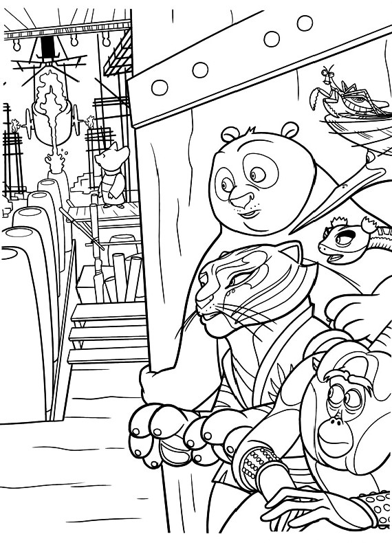 Kung fu panda po tigre spiano da stampare e colorare for Immagini tigre da colorare