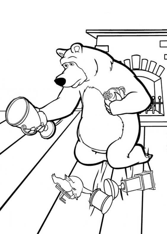 Disegni da colorare di masha e orso - Casetta di cartone da colorare ...