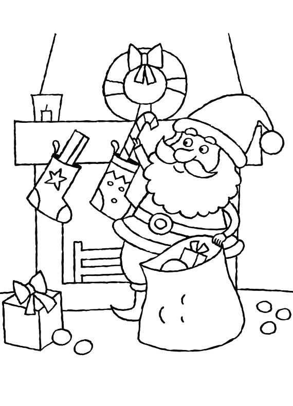 Natale Babbo Natale Caminetto Da Stampare E Colorare