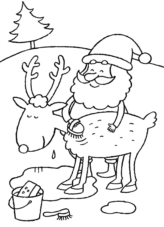 Natale Babbo Natale Lava Renna Da Stampare E Colorare