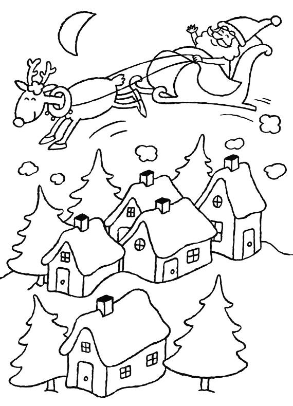 Immagini Slitta Babbo Natale Da Colorare.Natale Babbo Natale Slitta Da Stampare E Colorare