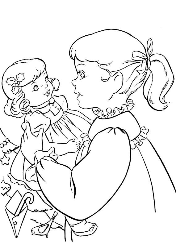 Natale bambina bambola da stampare e colorare for Disegno bambina da colorare
