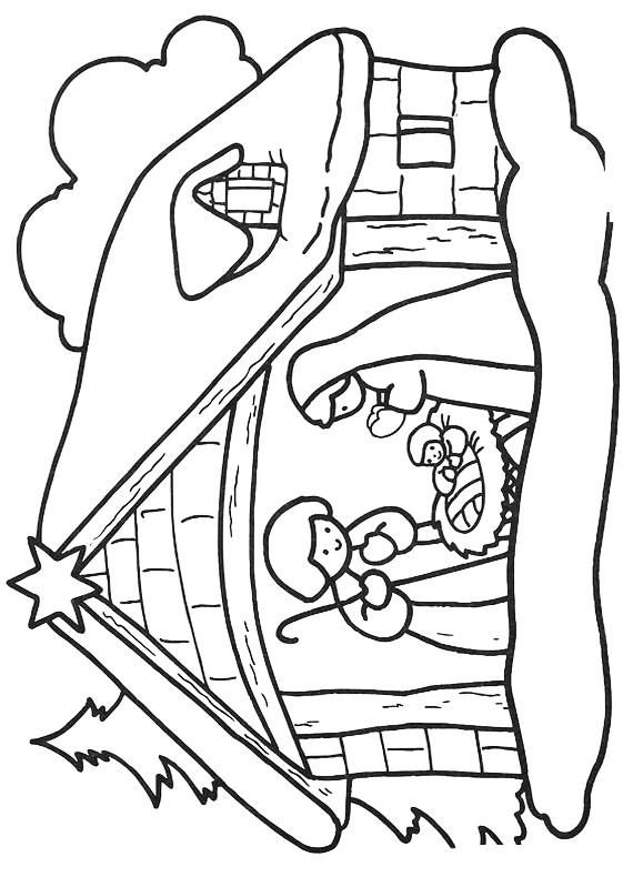 Natale gesu maria giuseppe da stampare e colorare - Dessin creche de noel ...