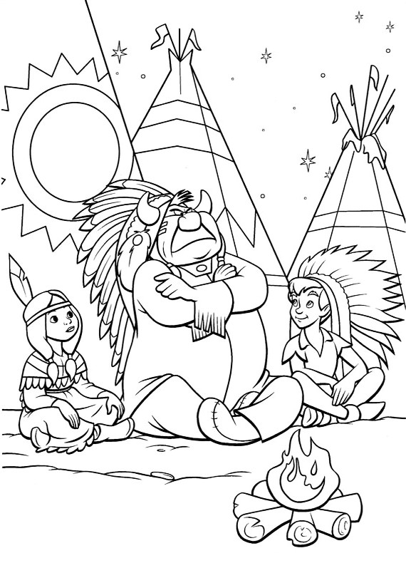 peter pan coloring book pages - peter pan indiano da stampare e colorare