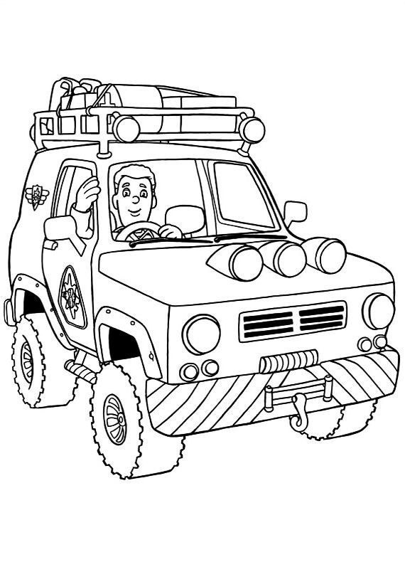 Sam Il Pompiere Jeep Da Stampare E Colorare