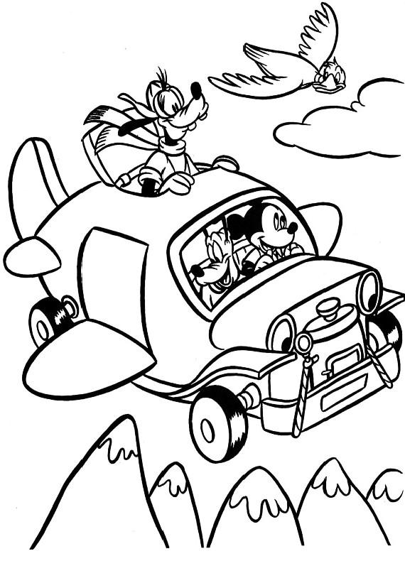 Topolino auto volante da stampare e colorare - Mickey mouse dessin ...