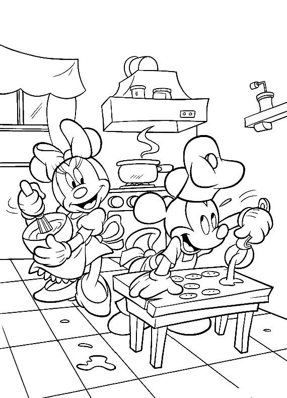 Topolino In Cucina Con Minnie da stampare e colorare