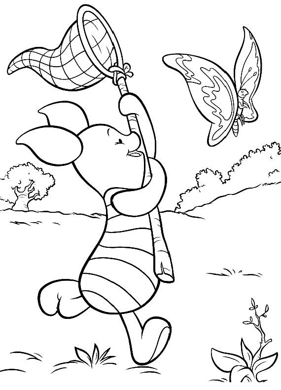 Winnie Pooh Pimpi Farfalla Da Stampare E Colorare